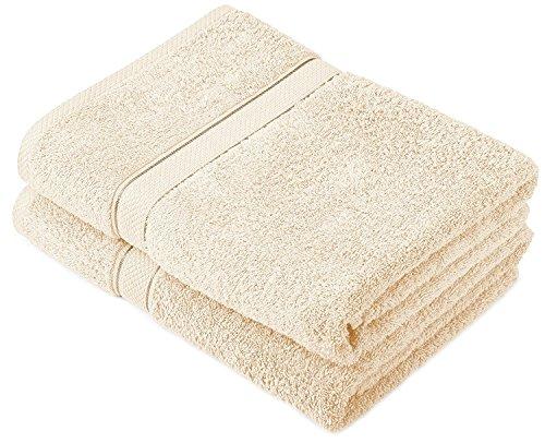 Buoqua - Set di asciugamani in cotone crema, 2 asciugamani da bagno, 600 g/m²