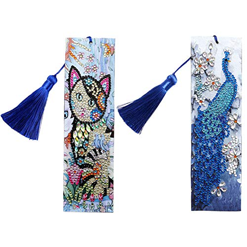 5D Bookmarks Diamond Painting Kits Full Drill Special Shape Diamond Painting Leather Tassel Bookmark for Kids Adult (Peacock+Cat)