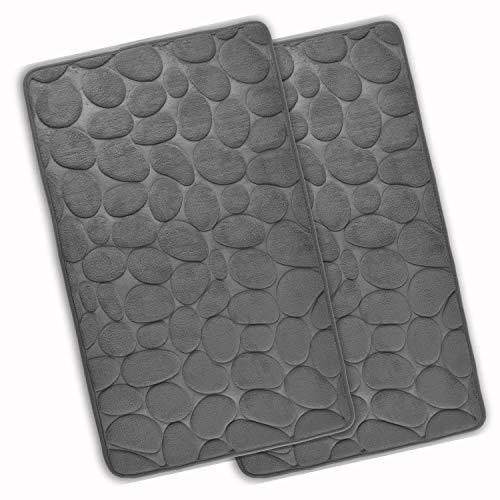 WohnDirect Set 2 teilig Badezimmerteppich mit Memory Foam - Rutschfester Badteppich - Badematte waschbar & schnelltrocknend – auch ideal als Duschvorleger – Badvorleger 50 x 80 cm - Grau