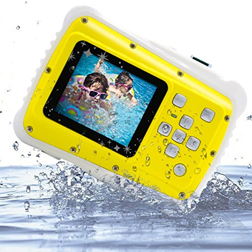 Kids Digital Camera Vmotal Kids Waterproof Camera 20 Inch TFT Display 8MP Waterproof Camera for Children Yellow