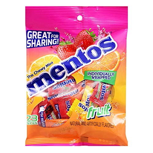 Perfetti (1) Bag Mentos The Chewy Mint Fruit Flavored Candy 23pc Individually Wrapped - Strawberry, Orange & Lemon Flavors