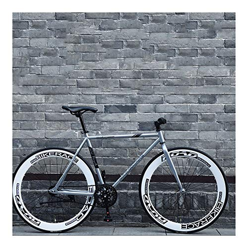 without logo AFTWLKJ Mountain Road Fixed Gear Bike 26 Inches Single Speed Retro Frame Man and Woman Students Adult Bicycle New (Colore : White, Dimensioni : 26inch)