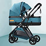 Ampliación de Carro Compacto con Cochecito de bebé Convertible,Cochecito Plegable portátil,carruaje de Cochecito con Bolsa de mamá y Cubierta de Intemperie (Color : Lake Blue)