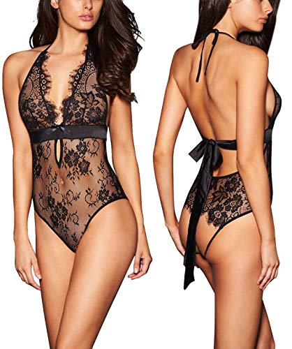 ALLoveble Women Lace Babydoll Teddy Underwear Black (M, Black)