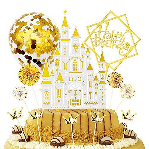 LOVEXIU 12 Piezas Topper Feliz cumpleaños,Decoracion para Tartas De Cumpleanos,Torta Toppers de CumpleañOs Cupcake Toppers Abanicos de Papel Globos Confeti Oro Cake Topper Happy Birthday