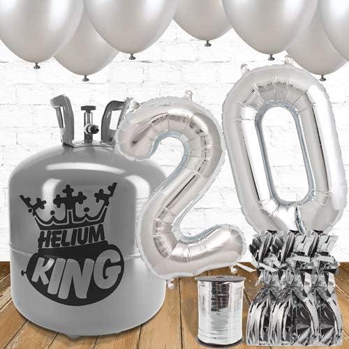 venta con alto descuento 20o cumpleaños Sliver Globos y paquete de de de gas helio  hermoso