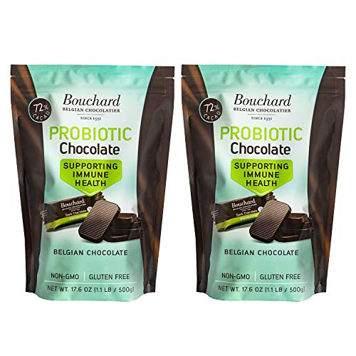 Bouchard Probiotic Belgian Dark Chocolate Bites Supporting Immune Health  72% Cacao NonGMO Gluten Free  176 Oz 2 Pk  22 LB 200 Pieces Individually Wrapped Perfect Bite Size Pieces