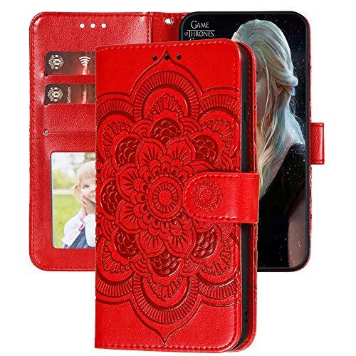 Capa carteira XYX Galaxy S20 FE, capa S20 FE, [flor de mandala em relevo] capa de couro PU para Samsung S20 FE (vermelho)