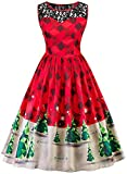 Women's Christmas Dress Retro Vintage 1950s Christmas Holiday Party Dresses Cocktail A-Line Swing Dress