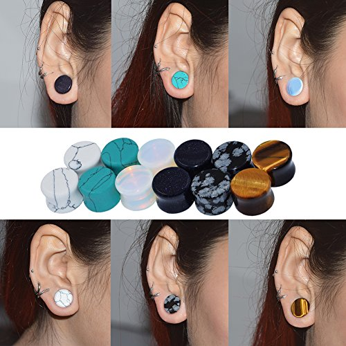 Qmcandy 6 Pairs Mixed Stone Ear Plugs Tunnels Saddle Expander Body Piercing Set Gauge 8G