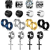 10 Pairs Magnetic Stud Earrings for Men Stainless Steel Magnetic Earrings, Non-Piercing Cross Dangle Hoop Earrings Unisex Gauges Clip on Earring Black CZ Magnet Earring Set (Chic Style)