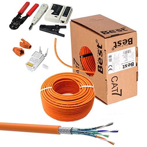 SatShop-Ft 50m CAT 7 Verlegekabel Netzwerkkabel CAT.7 + Crimpzange RJ45 Zange + Kabelmesser + 10x Netzwerkstecker Netzwerk Stecker LAN Halogenfrei Installationskabel CAT7 Kabel (50m, 10x RJ-Orange)