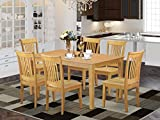 East West Furniture Dining Room Table Set 7 Pc - Wooden Dining Table Chairs Seat - Oak Finish Small Rectangular Table and Frame
