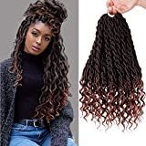 6PCS/Lot Crochet Hair Wavy Faux Locs Goddess Locs with Curly Ends 20Inch Synthetic Ombre Brown Braiding Hair Extensions(1B/30#)