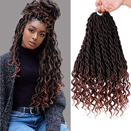 GX Beauty 6PCS/Lot Crochet Hair Wavy Faux Locs Goddess Locs with Curly Ends 20Inch Synthetic Ombre Brown Braiding Hair Extensions(1B/30#)