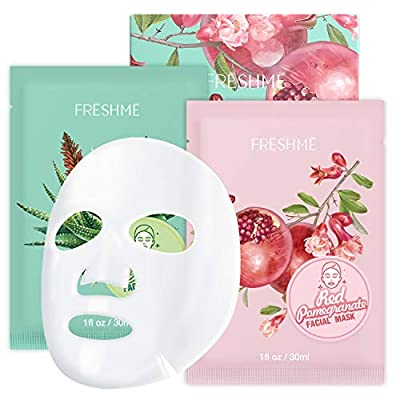 Fruit facial mask 6 pieces - Moisturizing anti-aging Red Pomegranate Moist Sheet Mask and Aloe Vera Moisturizing Mask Pure natural Nourishes moisturizes tightens pores supple FRESHME from FRESHME