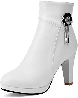 Women's High-Heels Round Closed Toe Pu Low-Top Solid Zipper Boots, White-Charms, 43