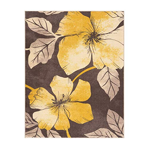 Camilson Modern Floral Area Rug - Non Slip Large Flower Carpet for Indoor Rugs - Living Room, Bedroom, Kitchen and Hallway mats, Entryway Decoration (5x7, Yellow Brown)