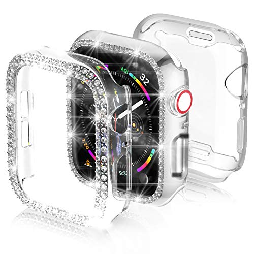 3-Pack Apple Watch Series 6/SE 44mm Screen Protector Case,JZK Bling PC Diamond Case Bumper Shell Frame & Soft Plated TPU Protective Case Full Cover for iWatch Series 6/SE/5/4 44mm Nike+,Edition,Clear