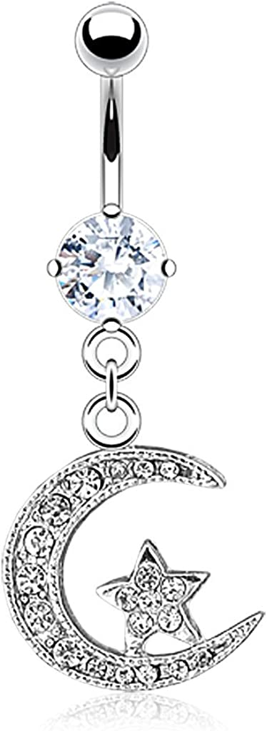 14GA Stainless Steel CZ Crystal Paved Crescent Moon and Star Dangling Belly Button Ring