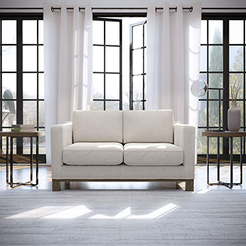 Edenbrook Parkview Upholstered Loveseat with Wood Base-Two-Cushion Design-Contemporary Feel Love Seats, Weathered Oat