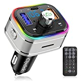 Bluetooth FM Transmitter for Car, Clydek Wireless Bluetooth FM Car Adapter with Type-C PD 3.0 18W, Remote Control, LED Backlit, Hands-Free Calling, MP3 Player Car Charger Support U Disk & TF Card