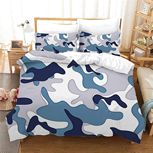 WENYA Camouflage Print Bedding set Blue Green Gray Red Brown Duvet Cover and Pillowcase Microfiber Soft and Breathable (Style 1,Super king 220x260 cm)