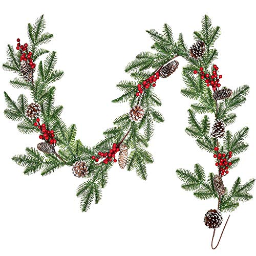 Lvydec Spruce Garland Christmas Decoration - 6ft Pine Cones Garland with Artificial Red Berry Picks and Spruce Leaves for Holiday Fireplace Railing Table Decoration