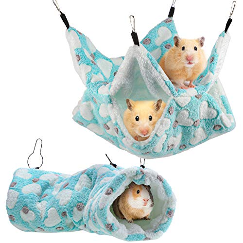 2 Pieces Small Pet Cage Hammock Hanging Tunnel for Small Animals Hanging Bed Cage Guinea Hammock Cage Accessories for Ferret Rat Chincilla Hammock Sleeper Cage Accessories Set (Green)