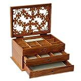 SBDLXY Caja organizadora de Joyas, Caja de Madera para Joyas de 3 Capas con patrón de Alfalfa de Cuatro Hojas, Vitrina de joyería, para Collar, Anillo, Pendiente, Regalos de cumpleaños, Color Nogal