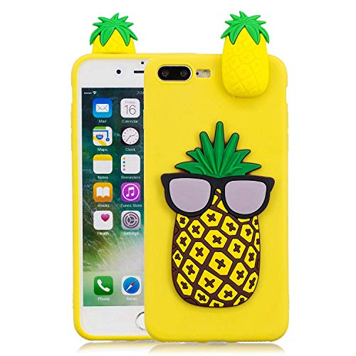 LAXIN Pineapple Cartoon Cover, iPhone 8 Plus Lovely Fruit Case Floral Slim Anti-Scratch Shockproof Cover Glossy Finish Flexible Ultra-thin 3D TPU Bumper Soft Case for iPhone 7 Plus