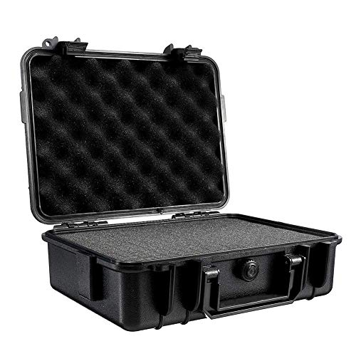 Iwinna Accessory Tool Box Waterproof Hard Protective Carrying Case with Foam, Shockproof ABS Plastic Camera Photography Storage Box Portable Tool Case