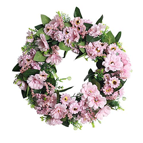 Artificial Flowers Wreath, Artificial Flower Door Garland, Simulation Wreath Garland Wall Hanging Home Decoration, Floral Wreath for Home Wedding Party Holiday Thanksgiving Day Decoration, 45CM, A