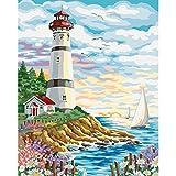 JRGGPO Kit de Pintura de Diamante 5D DIY Bordado Hermoso mar Diamante imágenes Punto de Cruz Mosaico decoración del hogar 40x50cm