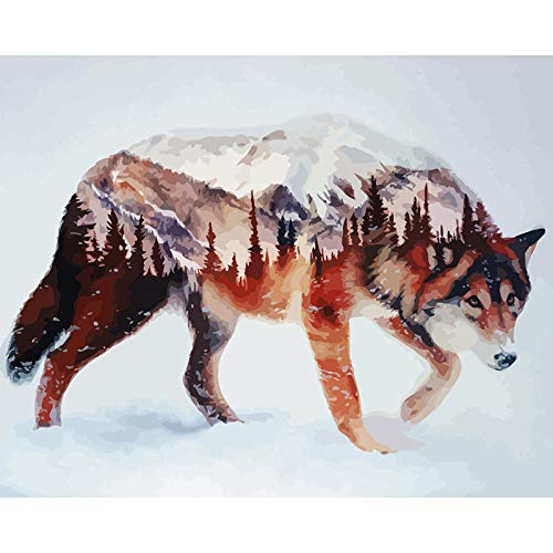 Paint by Numbers for Adults Animal Wolf Silhouette DIY Oil Painting Kit for Kids Beginner with Brushes and Acrylic Pigment Home Decor 40X50cm(Without Frame)