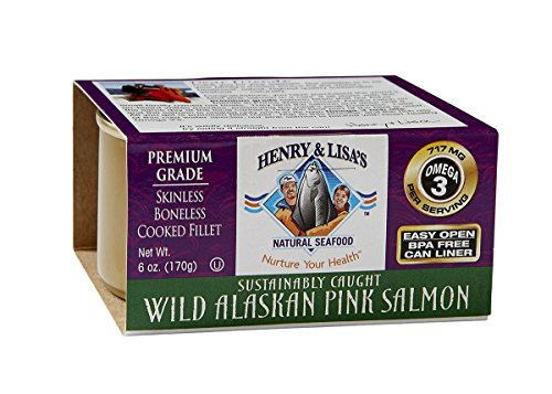 Henry & Lisa's Natural Seafood Wild Alaskan Pink Salmon, 6-Ounce Cans (Pack of 4)