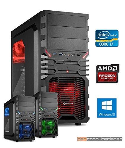 Sistema de de ordenador para juegos Intel i7-7700K (Kaby Lake) 4x4, 2 GHz. Incluye Windows 10 (con instalación) dercomputerladen negro i7 7700K mit Radeon RX 580 4GB mit 16GB RAM und 2000GB HDD