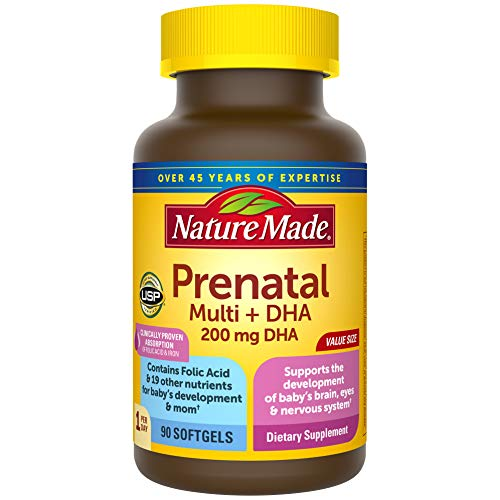 Nature Made Prenatal Multivitamin + DHA Softgel with Folic Acid,...