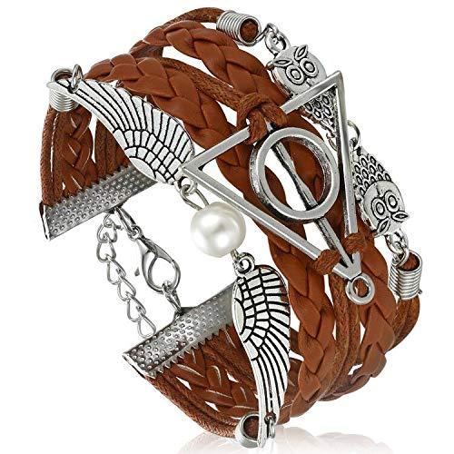 AFAFKAKA Hallows Owls Brown Leather Braid Rope Bangle Gift Bracelet