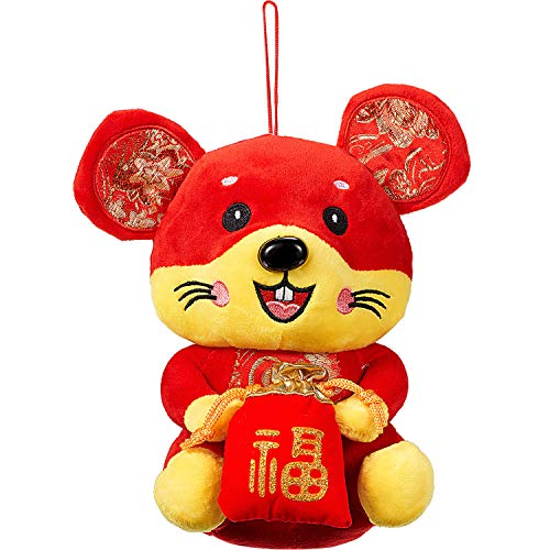 2020 Chinese Rat New Year Lucky Doll Present Home Plush Mouse Decoration New Year Mouse Animal Mascot Gifts Red, 8 Inches (Lucky Bag Style)