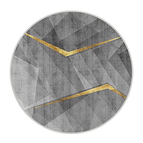 CMX-BOX Tappeti Rotondi Grigio 100cm 120cm Geometria Design Circolare Tappeto Circolare per Soggiorno Sala Studio Camera da Letto Divano da Comodino Tavolino Tavolino da caffè Tappetino Decorativo