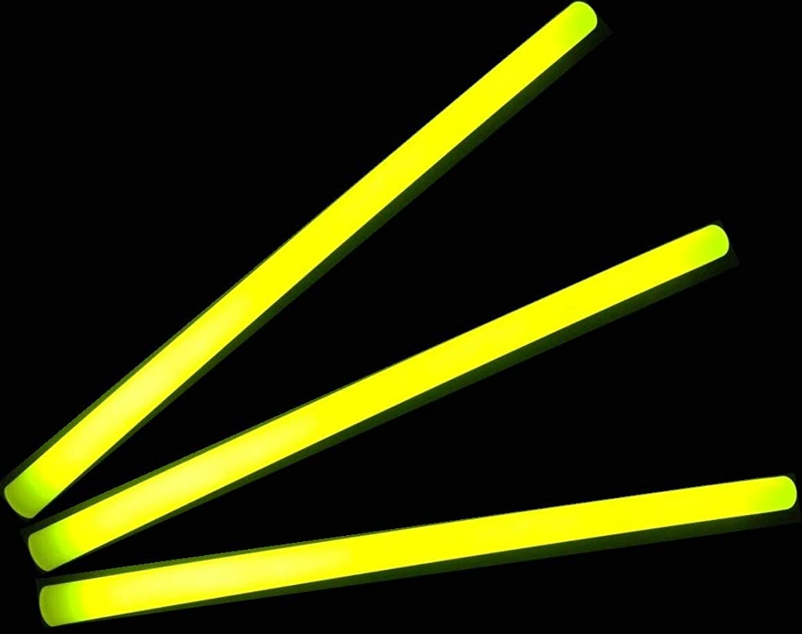 "Glow Sticks Bulk Wholesale, 10 12"" 15mm Dia. Yellow Industrial Grade Jumbo Light Sticks, Bright Color, Glow 14 Hrs, Safety Glow Stick 3yrs Shelf Life, Ideal for Camping & Emergency, Glow With Us Brand"