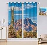 Cortina hecha a medida, paisaje de la montaña, sol, desierto, cactus, planta, arbustos botánicos, cielo con nubes, 2 paneles, cada panel 152 cm de ancho x 222 cm de largo, multicolor