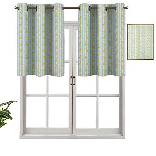 Hiiiman - Set di 2 tende a mantovana corte a righe verticali con motivo a pennellata con macchie gialle, 137,2 x 61 cm, tende per finestra per soggiorno