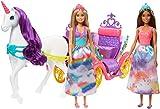 Barbie Dreamtopia Set de juego con 2 muñecas rubia y morena con unicornio, carruaje y accesorios de juguete (Mattel GNH04)
