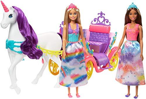 Barbie Dreamtopia-Playset con 2 Bambole, Carrozza e Unicorno con Criniera Viola, Giocattolo per Bambini 3+Anni, GNH04