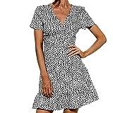 Robes pour femme - Col en V - Manches courtes - Imprimé - Style décontracté - Pour la plage, les fêtes, les mariages, les invités, le soleil, B-blanc., M