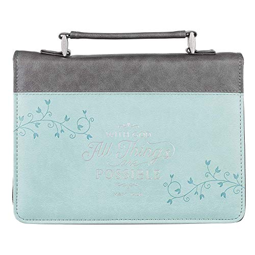 Light Blue/Grey Fashion Bible Cover | with God All Things are Possible Mathew 19:26 | Floral Bible Case Book Cover, Faux Leather, Large