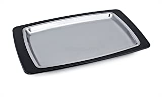 New Star Foodservice 26672 Rectangular Stainless Steel Sizzling Platter with Insulated Holder, 11 by 7.25-Inch, Black
