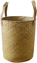 XinQing-Storage basket Hand-woven Water Seaweed Braided Storage Basket Round Laundry Bucket Storage Bucket 35 * 30cm